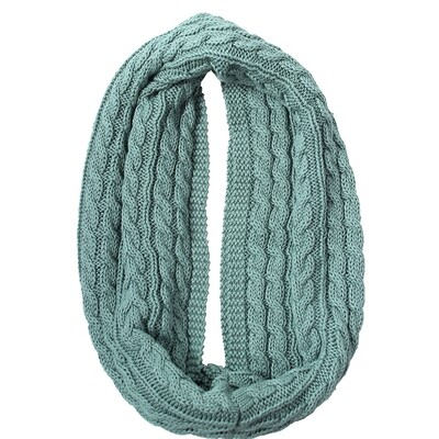 Luca Cable Knit Loop Cotton Scarf - Sage