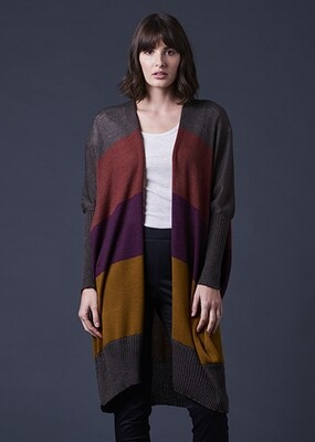 Piper Long Line Jersey Cardigan - S/M - Plum - 100% Merino Wool