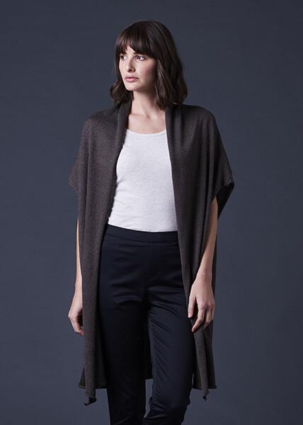 Sascha Longline Collared Cardigan - One Size - Hazelnut - 100% Merino Wool
