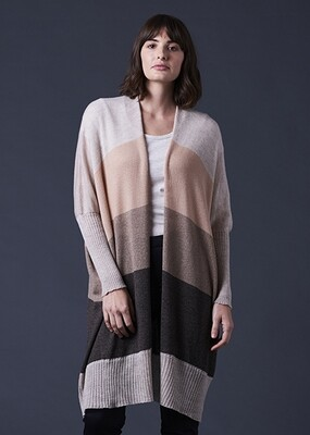 Piper Long Line Jersey Cardigan - S/M - Almond - 100% Merino Wool