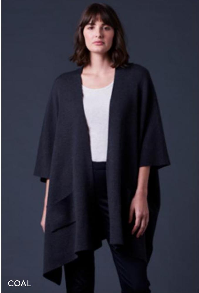Corinne Jersey Drape Jacket - Coal - 100% Merino Wool