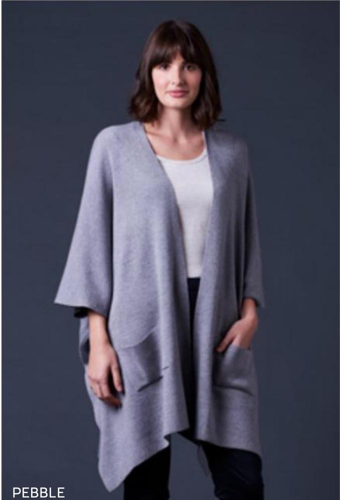 Corinne Jersey Drape Jacket - Pebble - 100% Merino Wool