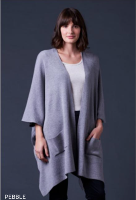 Corinne Jersey Drape Jacket - Pebble - 100% Merino Wool