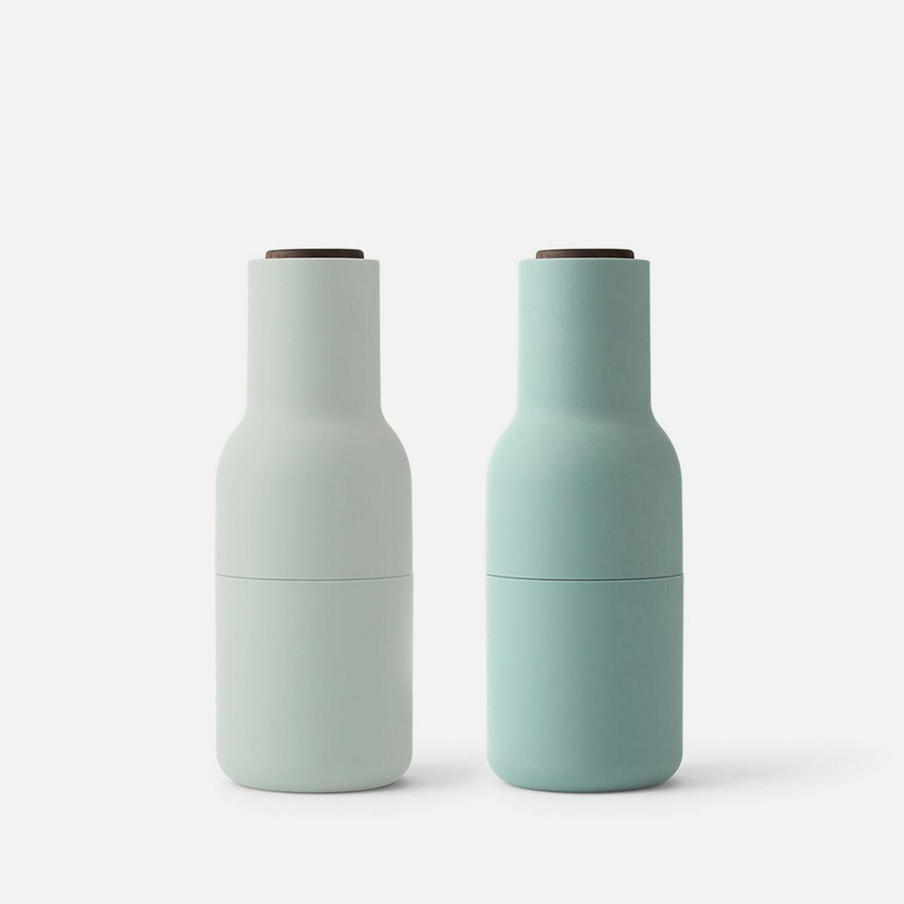 Norm Bottle Grinders Set - Moss Greens - Walnut Lid