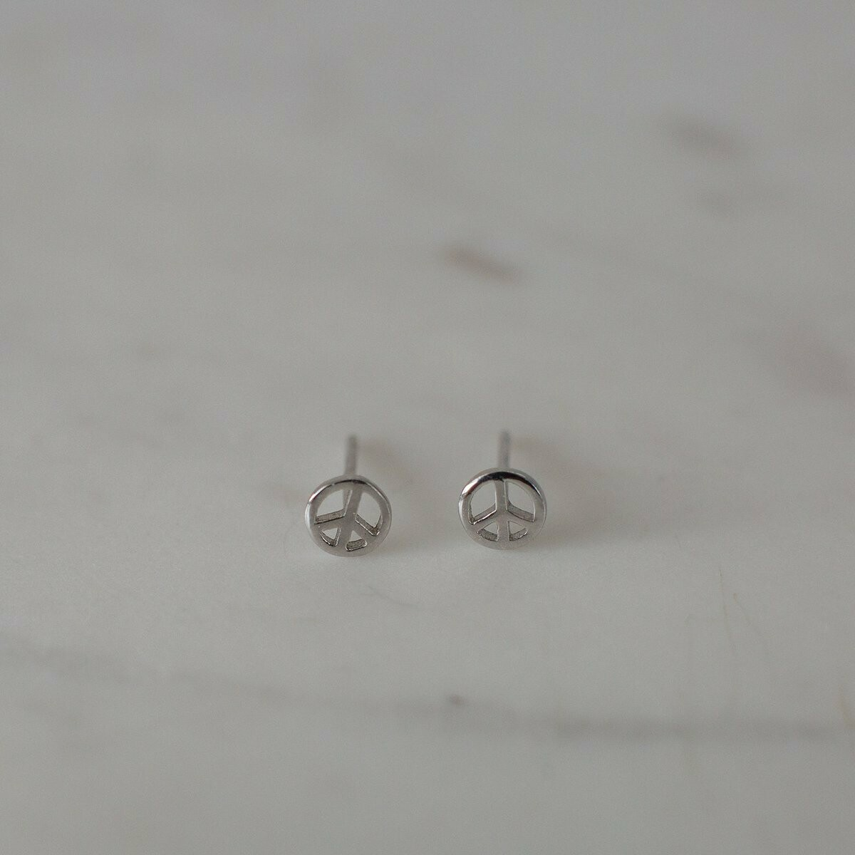 Peace Stud Earrings - Sterling Silver