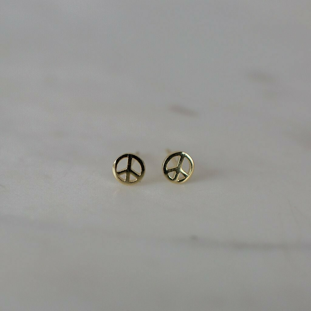 Peace Stud Earrings - 14kt Gold Plated