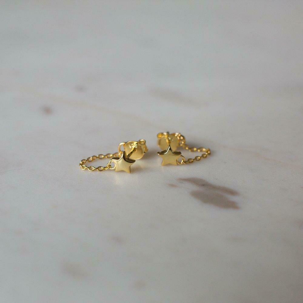 Twinkle Chain Stud Earrings - 14kt Gold Plated