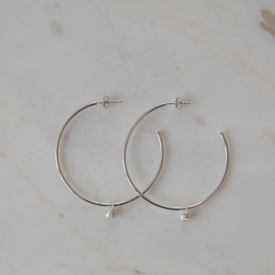 Hoops with Mini Pearl - Sterling Silver