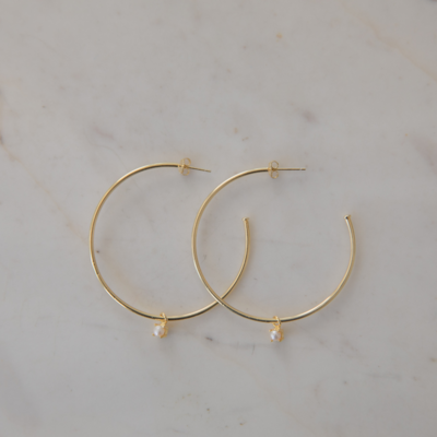 Hoops with Mini Pearl - 14kt Gold Plated