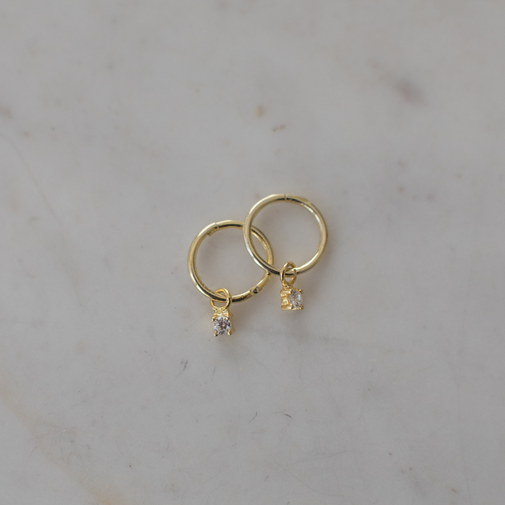 Sleepers with Mini Rock (Clear) - 14kt Gold Plated