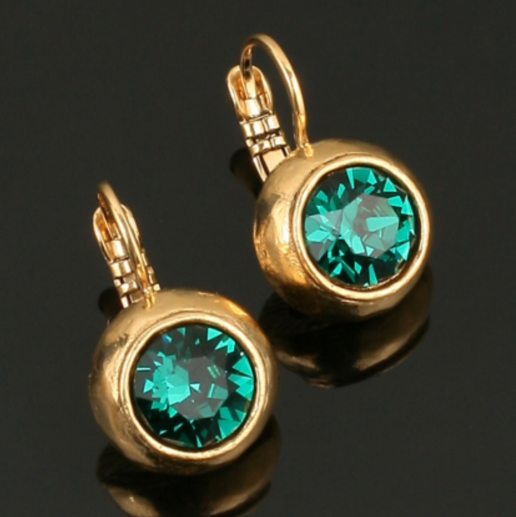 Swarovski Crystal Drop Earrings - Gold Plated - Emerald