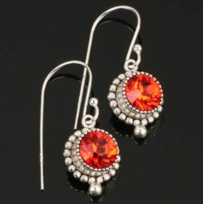 Swarovski Crystal Long Drop Earrings - Sterling Silver - Tangerine