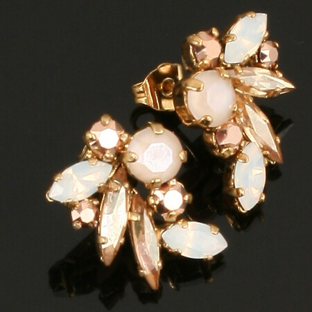 Swarovski Crystal Fan Stud Earrings - Gold Plated - Bronze