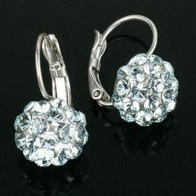 Swarovski Crystal Disco Ball Drop Earrings - Silver Plated - Azzure