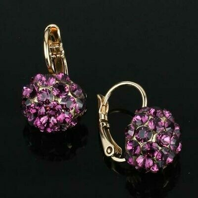 Swarovski Crystal Disco Ball Drop Earrings - Gold Plated - Violet