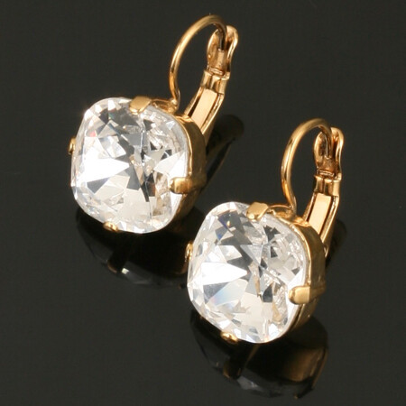 Swarovski Crystal Square Drop Earrings - Gold Plated - Clear