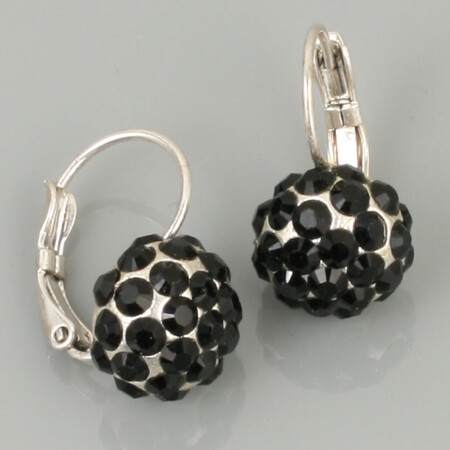 Swarovski Crystal Disco Ball Drop Earrings - Silver Plated - Black