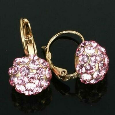 Swarovski Crystal Disco Ball Drop Earrings - Gold Plated - Pink