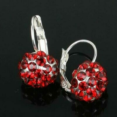 Swarovski Crystal Disco Ball Drop Earrings - Silver Plated - Ruby