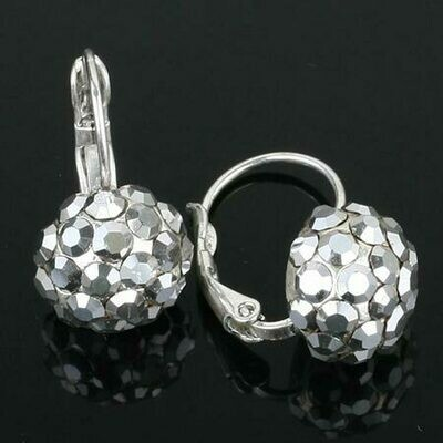 Swarovski Crystal Disco Ball Drop Earrings - Silver Plated - Silver