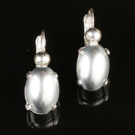 Swarovski Pearl Oval Drop Earrings - Silver Plated - Silver
