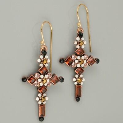 Swarovski Crystal Cross Drop Earrings - Bronze