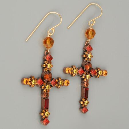 Swarovski Crystal Cross Drop Earrings - Golden Bronze