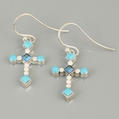 Swarovski Crystal Cross Drop Earrings - Turquoise Silver