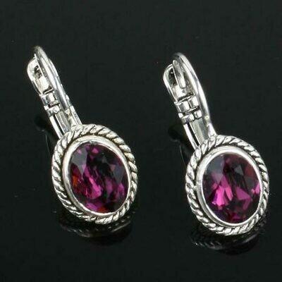 Swarovski Crystal Oval Drop Earrings - Sterling Silver - Plum