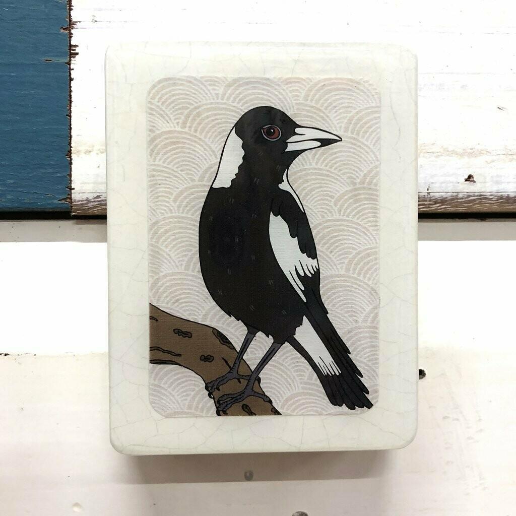Mini Woodblock - Magpie