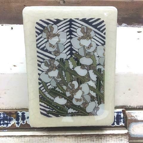 Mini Woodblock - Silver Dollar + Wild Leaves