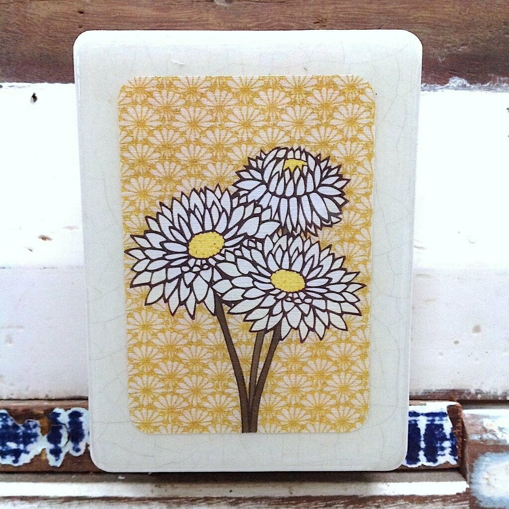 Mini Woodblock - White Everlasting