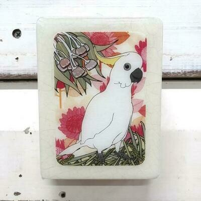 Mini Woodblock - Sulphur Crested Cockatoo