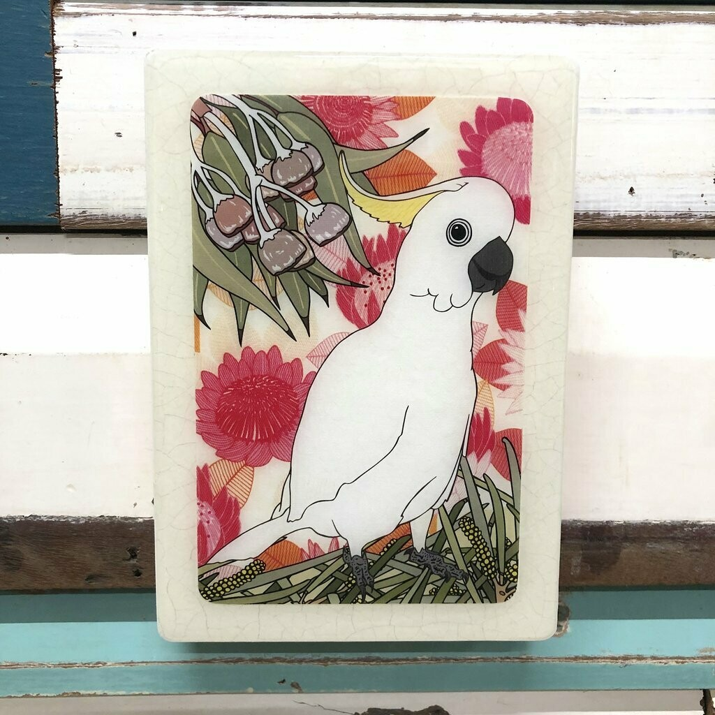 Medi Woodblock - Sulphur Crested Cocktoo