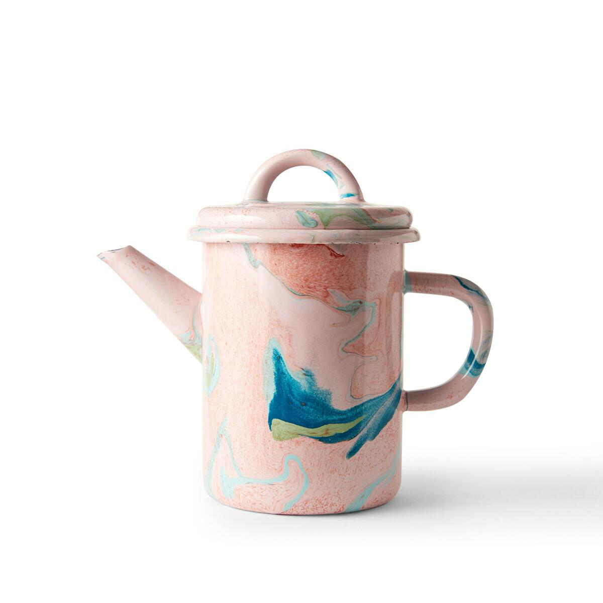Enamelware Tea Pot 600ml - Blush Marble