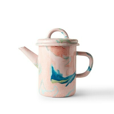 Enamelware Tea Pot 600ml - Blush Marble