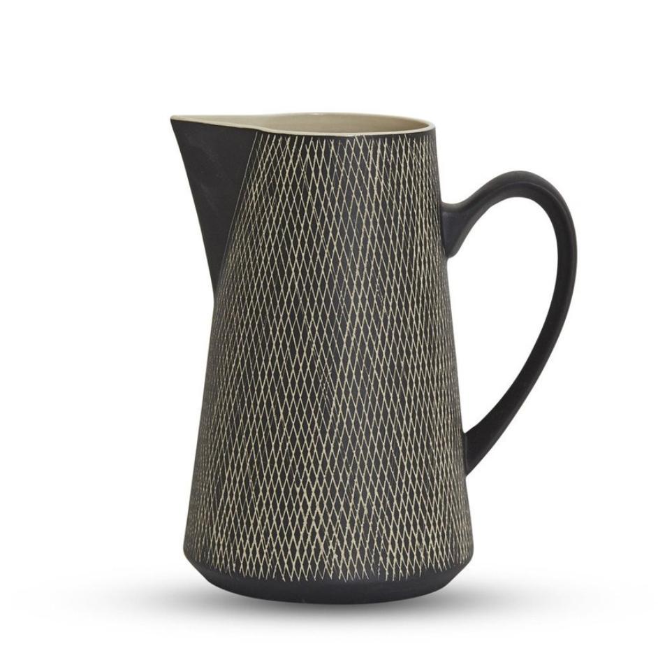 Etchings Ceramic Large Jug - Black