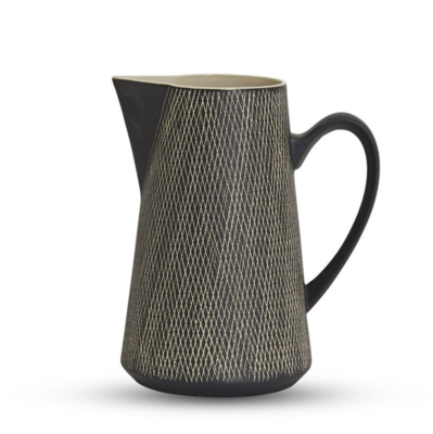 Etchings Ceramic Large Jug - Black