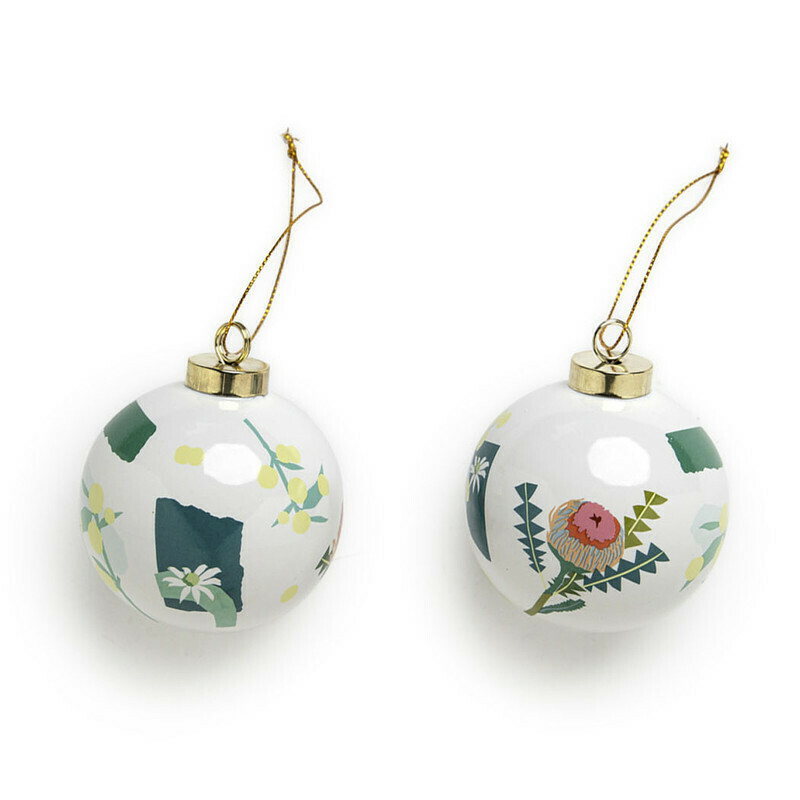 Christmas Ceramic Baubles - Green - Set of 2