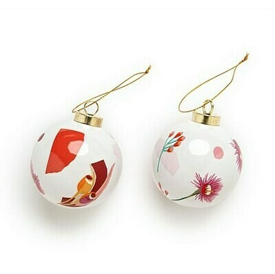 Christmas Ceramic Baubles - Red - Set of 2