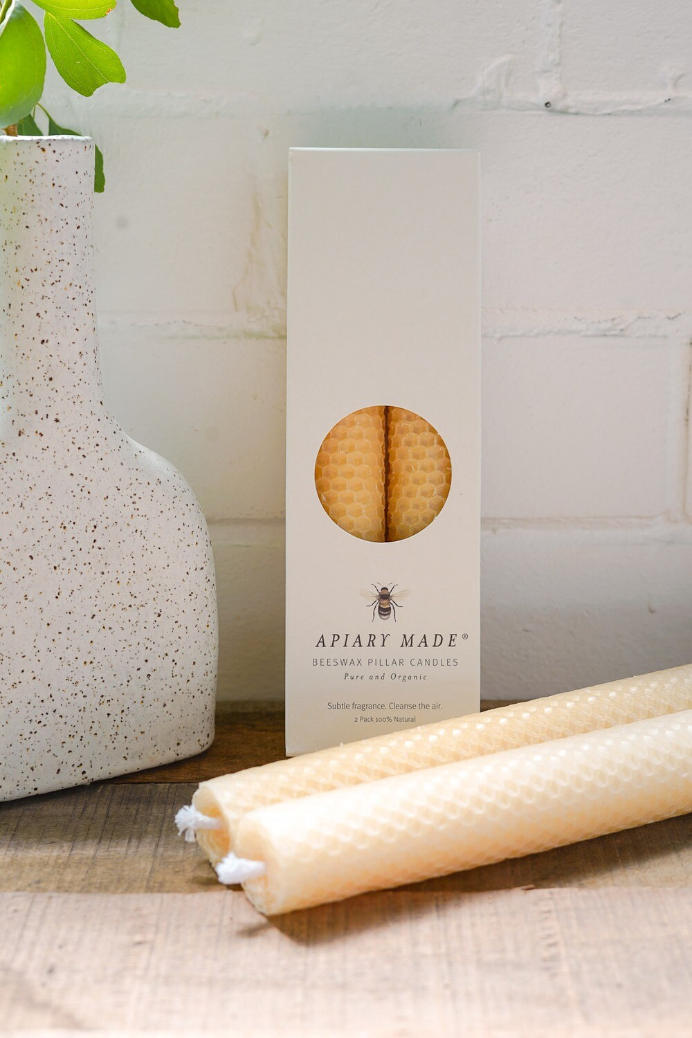 Beeswax Pillar Candle - Twin Pack Slim