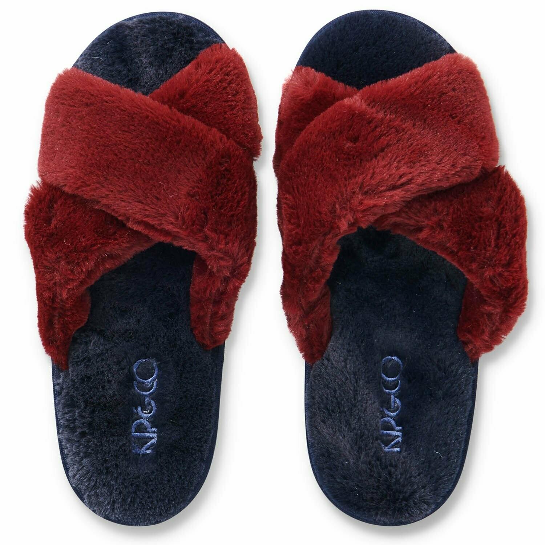 Adult Plush Slippers - Midnight Merlot