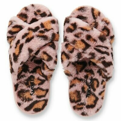 Adult Plush Slippers - Pink Cheetah