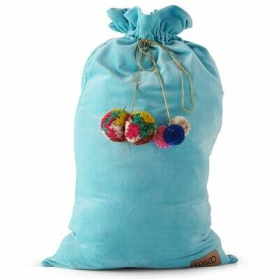 Velvet Santa Sack - Turquoise