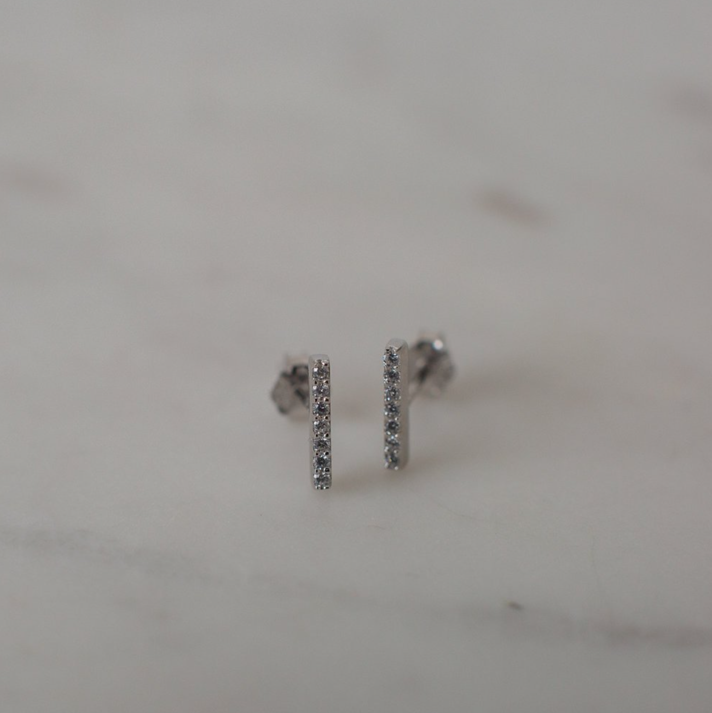 Sparkle Bar Stud Earrings - Sterling Silver