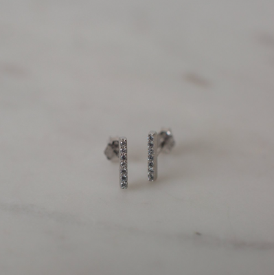 Sparkle Bar Stud Earrings - Sterling Silver