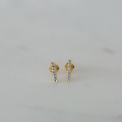 Sparkle Bar Stud Earrings - 14kt Gold Plated