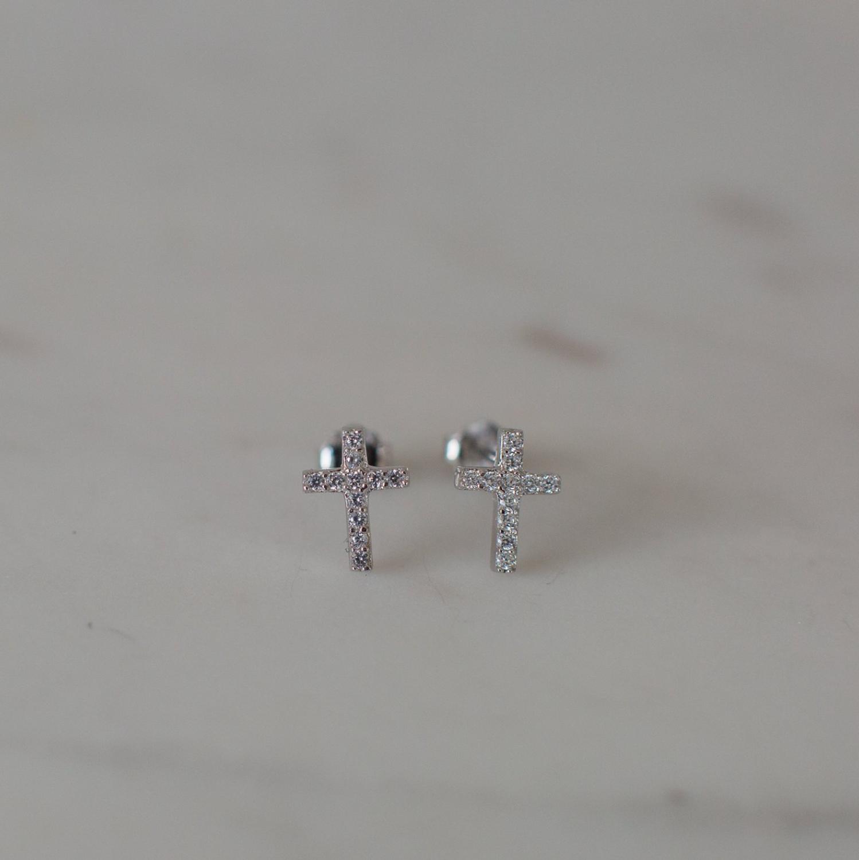 Sparkle Cross Stud Earrings - Sterling Silver