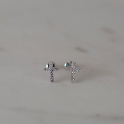 Sparkle Cross Stud Earrings - Sterling Silver