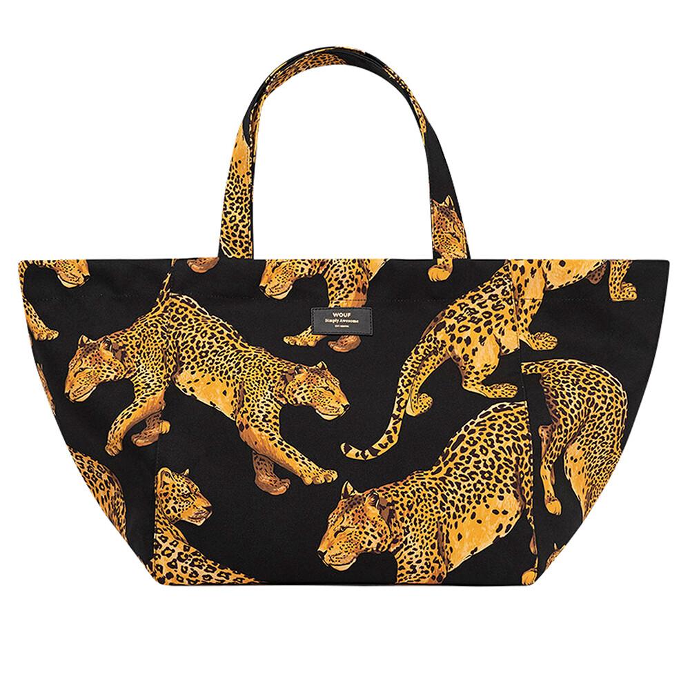 XL Tote Bag - Black Leopard